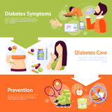 Diabetes Symptoms 3 Flat Banners Set Royalty Free Stock Images