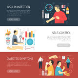 Diabetes Symptoms Horizontal Banners Royalty Free Stock Images
