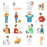 Diabetes Symptoms Icons Set. Of people with weight disorders headaches suffering from thirst and overeating flat vector illustration stock illustration