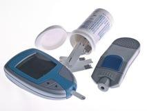 Diabetes Testing. Kit - Glucometer, Testing Strips, Lancet Device Stock Image