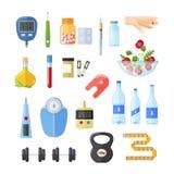 Diabetes, tratamiento, mantenimiento de la salud, dispositivos para medir el azúcar de sangre libre illustration