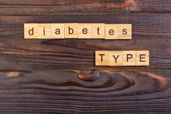 Diabetes type text word made with wood blocks. Concept Diabetes Prevention.  Royalty Free Stock Image