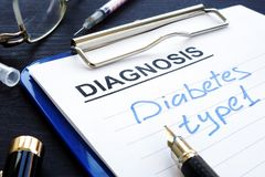 Diabetes type 1 written in medical report. royalty free stock image