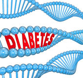 Diabetes Word DNA Strand Hereditary Blood Disease Biology Stock Photos