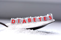 Diabetes word formed with plastic letter beads placed in a spoon full of sugar Royalty Free Stock Images