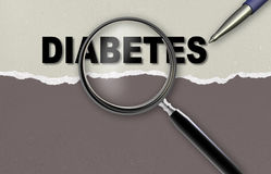 DIABETES. Word  DIABETES and magnifying glass with pensil made in 2d software Royalty Free Stock Photography
