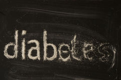 Diabetes word writen with sugar Stock Image