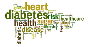 Diabetes-Wort-Tag-Cloud-Illustration Lizenzfreies Stockbild