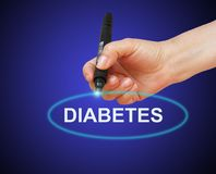 Diabetes. Writing word  Diabetes with marker on gradient background made in 2d software Royalty Free Stock Photography