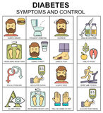 Diabetessymptomen en de stijl vectorachtergrond van de controlelijn met gekleurde pictogrammen vector illustratie