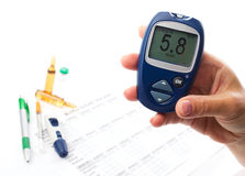 Diabetic concept with glucometer Royalty Free Stock Photos