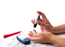 Diabetic concept with glucometer Stock Photography