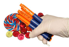 Diabetic Insulin Pens And Candy Stock Images