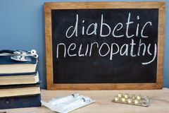 Diabetic neuropathy handwritten on a blackboard. Diabetic neuropathy handwritten on the blackboard royalty free stock photography