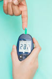 Diabetic patient measuring glucose Royalty Free Stock Image