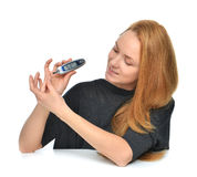 Diabetic patient measuring glucose level blood test using ultra Royalty Free Stock Photos