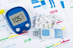 Diabetic test kit on medical background Stock Photos