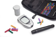 Diabetic Testing Supplies Royalty Free Stock Images