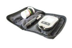 Diabetisk sats för blodprov i svart fall med den snabba banan arkivfoton