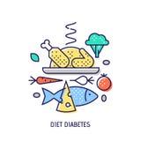 Diabets di dieta Linea sottile icona di vettore Fotografie Stock Libere da Diritti