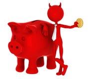Diable avec le piggybank Photo stock