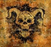 Diable de démon avec les chiffres géométriques et les symboles mystiques sur la vieille texture de papier photo libre de droits