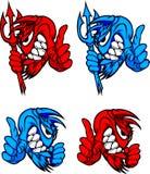 Diable/logos bleus de vecteur de mascotte de démon Images stock