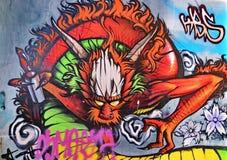 Diable rouge de graffiti photo libre de droits