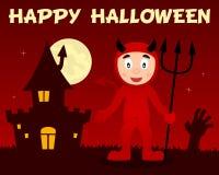 Diable rouge de Halloween et Chambre hantée Photo libre de droits
