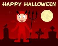Diable rouge et cimetière heureux de Halloween Photos libres de droits