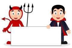 Diable rouge et Dracula avec la bannière vide Images libres de droits