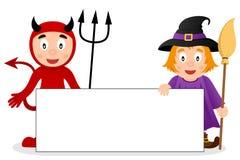 Diable rouge et sorcière mignonne avec la bannière vide Photo libre de droits