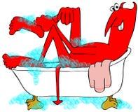 Diable rouge imbibant dans une baignoire illustration de vecteur