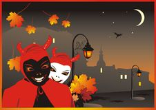 Diables sur le fond de la ville nocturne Photos stock