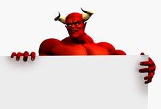 Diablo con el borde de la muestra en blanco - con el camino de recortes Imagen de archivo libre de regalías
