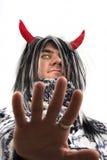 Diablo con los claxones rojos Imagen de archivo libre de regalías