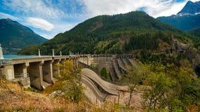 Diablo Dam. With Diablo Lake behind it, in North Cascades National Park, Washington Stock Photo