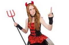 Diablo de la mujer con el tridente Imagenes de archivo