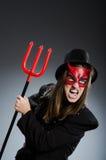 Diablo divertido en el concepto de Halloween fotografía de archivo