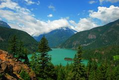 Diablo Lake. This is a picture of Diablo Lake in the North Cascades, Washington State.  This is north of Mt. Rainier Royalty Free Stock Photos