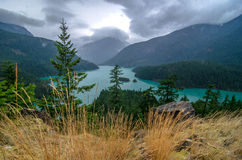Diablo Lake. Turquoise water in this magical area of the World in Diablo Lake and Washington stock images