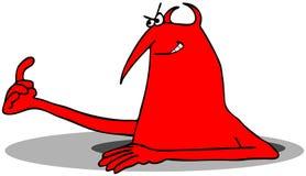 Diablo rojo que mira fuera de un agujero en la tierra Fotos de archivo