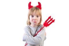 Diablo travieso víspera de Todos los Santos del niño Imagen de archivo