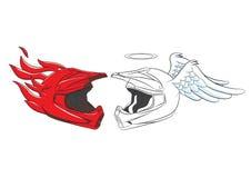 Diablo y Angel Helmet Motocross Imágenes de archivo libres de regalías