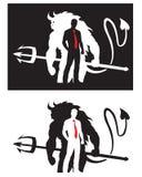 Diablo y hombre ilustración del vector