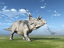 Diabloceratops et Mamenchisaurus illustration stock
