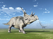 Diabloceratops and Mamenchisaurus Stock Images