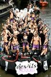 Diablos durante el desfile Amsterdam, 2008 del canal Fotografía de archivo