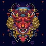 Diablos y búhos cons alas de oro de la muerte El ejemplo que representa un de cuernos y los diablos fanged dirigen y sobre él s stock de ilustración