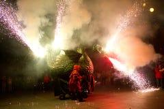 Diablos y dragón del fuego Fotografía de archivo libre de regalías